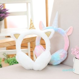 muff ear warmers UK - Kids Plush Unicorn Earmuff Children Cute Ear Muffs Winter Warmer Ear Muffs Fur Thicken Rainbow Unicorn Cover Party Favor GGA2997-6