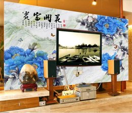 hotel chinese painting NZ - Custom Size 3D Photo Wallpaper Living Room Mural Peony Flower Chinese Painting Picture Mural Home Decor Creative Hotel Study Wall Paper 3 D