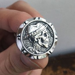 nickel coins UK - EYHIMD Hobo Nickel Brave Skull Rings Mens Mexican Biker Style Coin Stainless Steel Ring Gift for Him