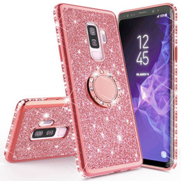 Discount customized finger rings Shining Glitter Magnetic Finger Case For Samsung Galaxy S10 S10e S8 S9 Plus A5 A7 2018 A6 A8 Note 8 9 10 Bling 360 Ring Back Cover