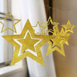 star layouts UK - Creative hollow-out five-corner star ornaments party accessories decorations New Year's layout Creative hollow-out five-corner star ornament