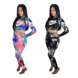 wholesale sports tracksuits UK - Womens outfits long sleeve 2 piece set tracksuit jogging sportsuit shirt leggings outfits sweatshirt pants sport suit hot selling klw4657