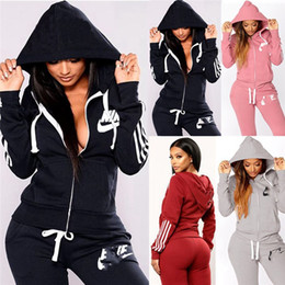 Wholesale joggers suits resale online – Women Brand Sweatsuit hooded two piece sets sports outfits long sleeve jacket leggings winter clothes jogger suit casual sportswear