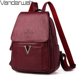 cell phone back cover girl Australia - New V Letter Women Genuine Leather Backpacks Female Sac Travel Back Pack Ladies Bagpack Mochilas School Bags For Teenage Girls CX200808