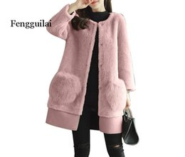 Wholesale pink trench coats for sale - Group buy Winter Luxury Runway Women Warm Long Pink Gray Jacket Woman Sheep sheared Faux Fur Loose Trench Coats Female Woollen Coat