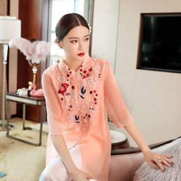 Wholesale cashmere shirt jacket online – oversize 2019 spring and summer new Chinese classical improved top embroidered Ruyi yarn all match Jacket cheongsam cheongsam shirt