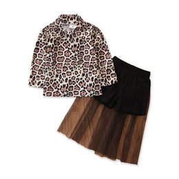 wholesale leopard skirts Australia - INS leopard girls suits fashion girls outfits long sleeve shirt+lace long skirts 2pcs set baby girl clothes baby suits 1-5Y B1966