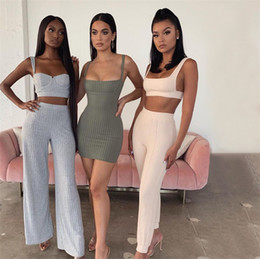 Wholesale women's pajama sets resale online - Fashion Women s Ribbed Knit Crop Tank Vest Tops Bra Wide Leg Pants Piece Clothing Set Outfits Trendy Casual Outfits Sweatsuit LY8034