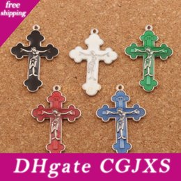 silver crucifix pendants Australia - Enamel Jesus Crucifix Cross Charms Pendants 70pcs  Lot 21x33 .5mm Antique Silver Fashion Jewelry Fit Bracelets Necklace Earrings L424