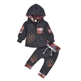 Wholesale paw print set for sale – custom Baby Boy Clothes Newborn Baby Girl Boy Long Sleeve Plaid Hooded Paw Print Pullover Pants Outfits Newborn Baby Boys Clothes Set