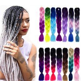 DIY Jumbo braid hair 24 INCH Synthetic Clolorful Gradient braid hair extension two-color three-color small braid braided hair on Sale