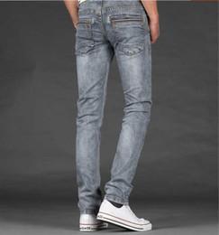 Wholesale light grey jeans for sale – denim Autumn smoky grey jeans men s light color elastic slim denim long trousers