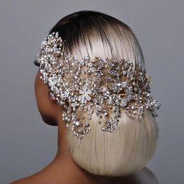 Wholesale TOPQUEEN HP240 Golden Wedding Hair Jewelry Luxury Crystal Hair Ornaments Rhinestone Wedding Crown Woman Tiara Pageant Crown