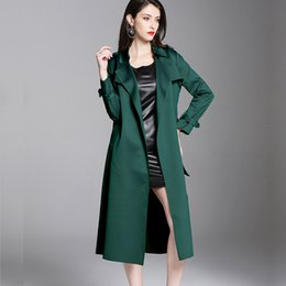 Wholesale trench coat for womens resale online - 2020 Spring Fall Womens Clothes Woman Green Black Epaulet Long Trench Coat xl xl Auutumn Elegant Coats for Women
