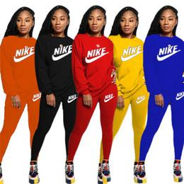 Wholesale yoga pants xl long for sale – dress Women Designer Brand Fall Winter Sweatsuit Piece Set Hoodies Pants Sports Suit Crew Neck Sportswear Solid Color Tracksuit Letter Suit