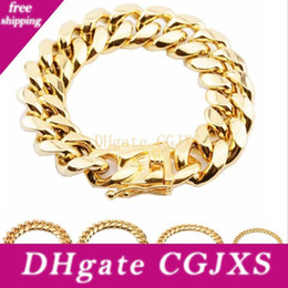bracelets 14mm UK - 316l Stainless Steel Bracelets 18k Gold Plated High Polished Miami Cuba Link Men Punk Curb Chain Bracelet 8mm 10mm 12mm 14mm 16mm 18mm