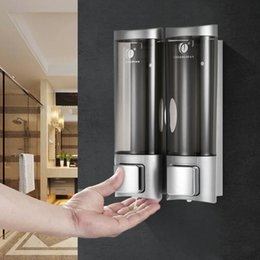hotels soap 2021 - Wall Mount Manual Soap Dispenser Double Liquid Shampoo Shower Gel Dispenser Lotion Dispensers For Bathroom Kitchen Hotel Office