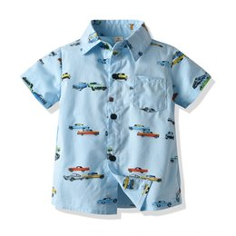 baby boy korean style clothing Canada - a2Gp3 Summer new Korean Baby carriage clothing style children's clothing children's lapel boys' car printed short-sleeved shirt casual shirt