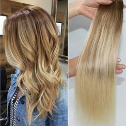 blonde highlight human hair extensions Australia - #8 60 Balayage Human Hair Extensions Ombre Medium Brown Ombre Hair #613 #60 Light Blonde With Highlights 100gram
