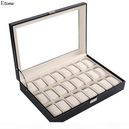 24 display case NZ - FANALA 24 Grid Watch Box PU Leather Watches Display Case Box Organizer Jewelry Storage Wrist Watches Lock Key Large Boite Montre