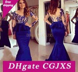 royal blue silk evening dresses NZ - Sexy Royal Blue Evening Dresses Sheer Neck Long Formal Prom Gowns 2017 Occasion Dresses Mermaid Jewel Long Sleeve Peplum Party Celebrity