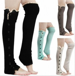 stockings for legs Australia - Lace Trim Flat Cuffs Button Down Knit Warmers Knee High Boot Socks Winter Boot Warm Socks Knit Leg Warmer for Christmas OZCX#