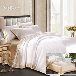 double sheet size UK - Luxury spliced color king size 19mm double-face 100% pure silk duvet cover set bedding sheet pillowcase roupa de cama SP5953