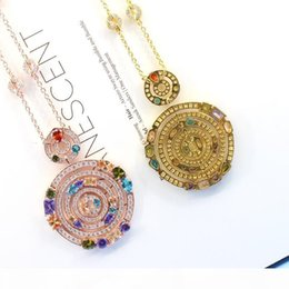 spinning pendant NZ - 2019 Fashion Brand Jewelry For Women Wedding Jewellery Accessories Lady Spin Round Pendant Necklace Gold Plated
