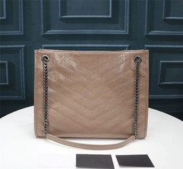Alta Qualidade 577999 33cm Niki Médio Saco de Compras Crinkled Calfskin Vintage feito de óleo ondulado e bolsa de ombro de couro de cera, preto enrugado liso encerado em Promoção