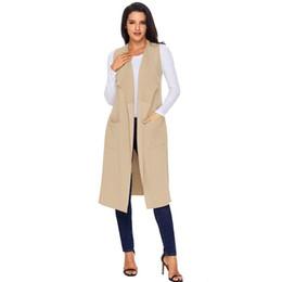 Wholesale knit sleeveless cardigan resale online - 2020 Woman Autumn Winter Fashion Casual Sweater Vests Cardigan Waistcoat Sleeveless Long Knitted Female Clothing Colete Feminino