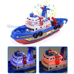 Crianças elétrica alta velocidade Música barco leve Marinha Salvamento Modelo Fireboat brinquedos para meninos pulverizador de água Barco de Fogo brinquedo educativo em Promoção