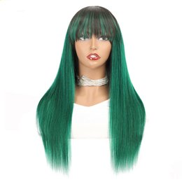 dark brown human hair lace wigs 2021 - Colored Human Hair Wig 1B Green Silky Straight Brazilian Remy Glueless Ombre Wigs With Bangs For Black Women Pre Plucked