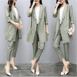 Wholesale linen ladies suits resale online – 2 Pieces Sets Spring Autumn Women Suits Cotton Linen Blazers Casual Elegant Office Ladies Style Long Pants Set T200828