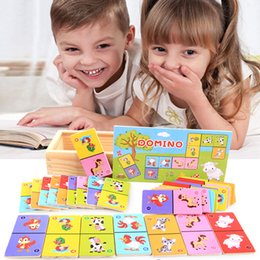 wooden domino puzzle NZ - Wooden 28pcs Children's Cognitive Animal Solitaire Dominoes Board Game Early Learning Puzzle Baby Jigsaw Toy Gift