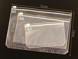 A6 documents transparent sac étanche côté tirette A l'intérieur du bloc-notes 6 trous sac de rangement de réception de sac à feuilles mobiles A10 en Solde