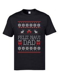 Wholesale christmas ugly sweater online – design Fortunate Elk Bells Gift T Shirts Feliz Navi Dad Funny Christmas Ugly Sweater Men Tshirts New Arrival Fashion Xmas Tee Shirts