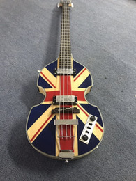 hofner violin guitar NZ - Custom McCartney Hofner H500 1-CT Contemporary Violin Deluxe Bass England Flag Electric Guitar Flame Maple Back & Side Free Shipping