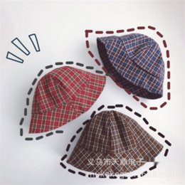 baby plaid hat Australia - tLEtc ins bucket bucket style red and blue British style Plaid children's fisherman hat baby concave shape all-match big edge basin hat
