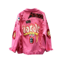 Wholesale denim women jean jackets resale online – New Spring Autumn Women s Alphabet Printing Lace Bow Pin Hole Denim Jacket Student Basic Coat Red Yellow Jeans Jacket women