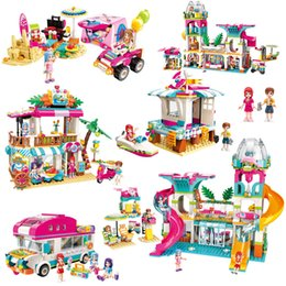 seaside toys NZ - Girls Seaside Beach Slide Amusement Park House Party Dolphin Rescue Building Blocks Sets Bricks Friends Children Toy