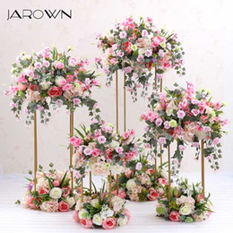 wrought iron home decor UK - JAROWN Wrought Iron Geometry Artificial Floral Wedding Decoration Window Arrangement Four Piece Set Home Party Decor Flowers