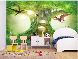 housing homes Australia - 3d wallpaper custom photo mural Virgin Forest Dinosaur Dream Tree House Children's Room home decor photo wallpaper in the living room