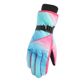 windproof waterproof touch screen gloves UK - 74iLL Women's touch screen Outdoor sports Warm gloves warm waterproof windproof cold-proof outdoor sports riding ski cotton gloves winter th