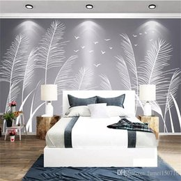 Discount simple wall art painting Custom 3D Wallpaper Modern Simple Hand Painted Abstract Flower Grass Art Wall Painting Living Room Bedroom Backdrop Deco