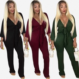long sleeved womens jumpsuits Australia - A8282 European and American Womens 2018 Early Autumn New Sexy V-neck Low-Cut Lace-up Long-Sleeved Jumpsuit