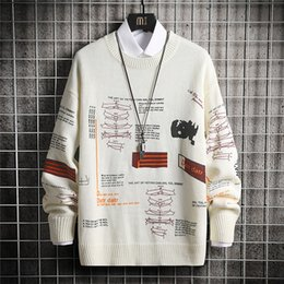 Wholesale plaid sweaters resale online – 2020 autumn and winter graffiti knit pullover sweater streetwear print hip hop casual long sleeved round neck sweater men s top