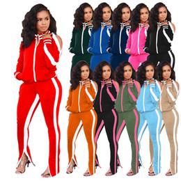 Wholesale zip coat women winter for sale – winter Plus Size Casual Piece Set Women Festival Clothing Front Zipper Long Sleeve Coat Zipper Up Pencil Pant Fall Winter Sweatsuit