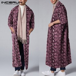 Wholesale leopard trench coat men for sale - Group buy Fashion Men Outerwear Leopard Print Sleeve Open Stitch Streetwear Men Long Trench Coats Casual Cloaks INCERUN Plus Size