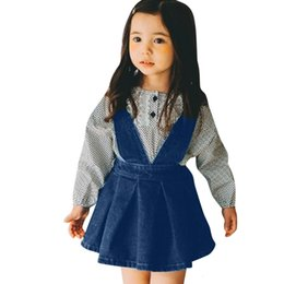 Wholesale Clearance Excelent New summer Mesh Toddler Baby Girls Kids Sleeveless Solid Dresses Denim Overalls Dress Clothes Z0205