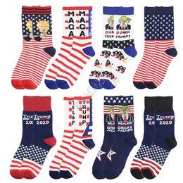 Wholesale mens dress socks for sale – custom President Trump Socks Womens Mens Sports Socks Socken Mid Level Long Stockings Letters Striped Fashion Dress Socks for Winter D82611